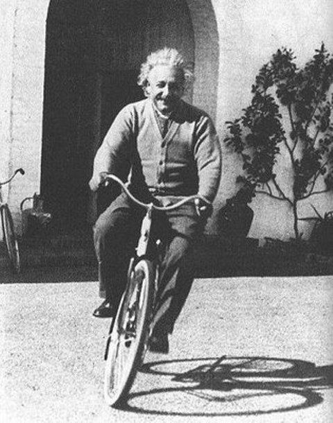 Einstein on bicycle