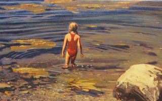 Girl Wading into Water